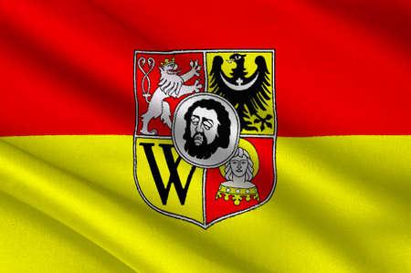 bandera de polonia: Bandera de Wroclaw es la ciudad más grande de Polonia. 3d ilustración