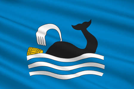 Flag of Molde is a city and municipality in Romsdal in More og Romsdal county, Norway. 3d illustration