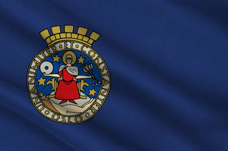 Flag of Oslo is the capital and the most populous city in Norway. 3d illustration