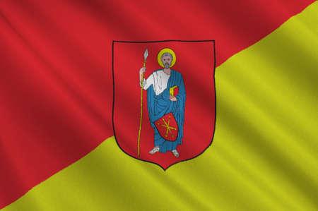 bandera de polonia: Flag of Zamosc city in Lublin Voivodeship in southeastern Poland. 3d illustration