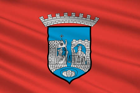 Flag of Trondheim is a city and municipality in Sor-Trondelag county, Norway. 3d illustration