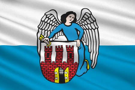 Flag of Torun city in Kuyavian-Pomeranian Voivodeship in Poland. 3d illustration Stock Photo