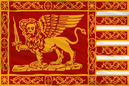 베네치아의 국기는 이탈리아 북동부와 베네토 지역의 수도입니다. 3D 그림