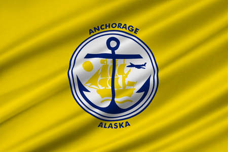 Flag of Anchorage is a unified home rule municipality in Alaska state, United States. 3D illustration