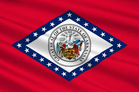 Flag of Arkansas is a state in United States. 3D illustration