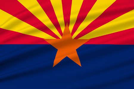 Flag of Arizona state, United States. 3D illustration