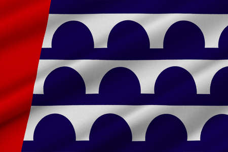midwest: Flag of Des Moines is the capital of Iowa state, United States. 3D illustration