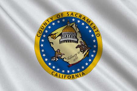 アメリカ合衆国カリフォルニア州サクラメント郡の旗。3 D イラストレーション 写真素材