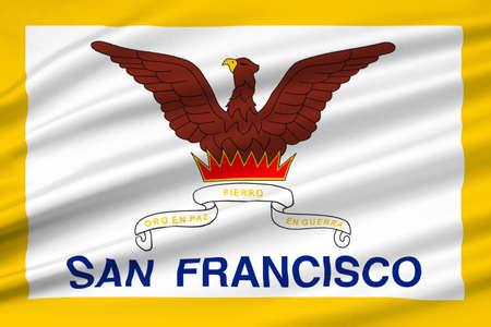 americana: Flag of San Francisco of Northern California, United States. 3D illustration Stock Photo
