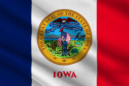midwest: Flag of Iowa state of United States. 3D illustration Stock Photo