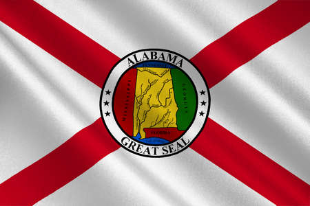 Flag of Alabama is a state of the United States. 3D illustration 스톡 콘텐츠
