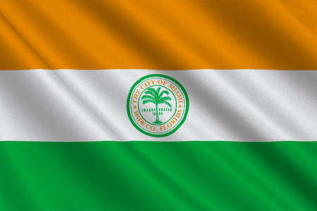 fl: Flag of Miami is a city of Florida, United States. 3D illustration