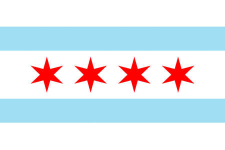 prairie: Flag of Chicago is the third most populous city in the United States. 3D illustration