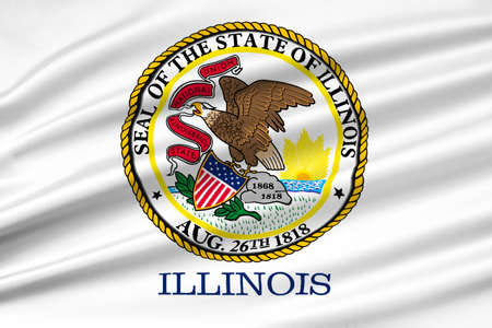 midwest: Flag of Illinois is a state of United States. 3D illustration