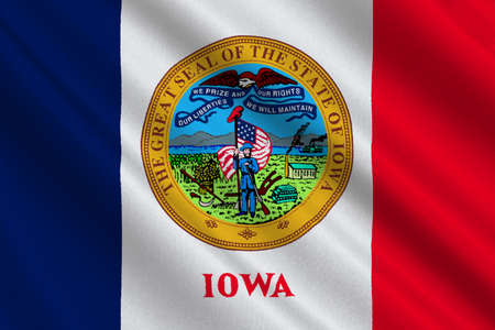 Flag of Iowa state of United States. 3D illustration Stock Photo