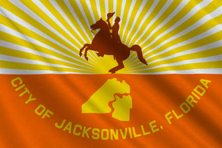jacksonville: Flag of Jacksonville city in state of Florida, United States. 3D illustration
