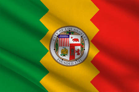 americana: Flag of Los Angeles city in California state, United States. 3D illustration
