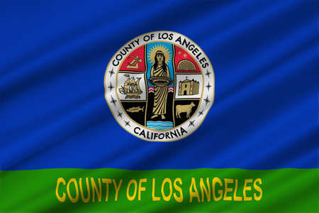 sierra nevada: Flag of Los Angeles County in California state, United States. 3D illustration