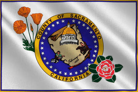sierra nevada: Flag of Sacramento County in California state, United States. 3D illustration