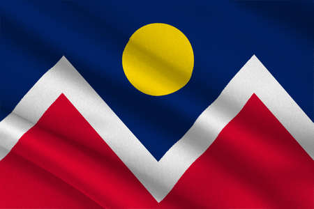 colorado springs: Flag of Denver is the capital of Colorado state, United States. 3D illustration