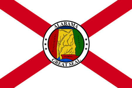 Flag of Alabama is a state of the United States. 3D illustration Stock Photo