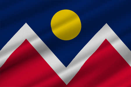 collins: Flag of Denver is the capital of Colorado state, United States. 3D illustration