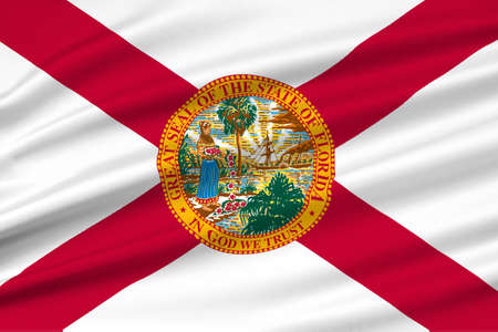 Tallahassee: Flag of Florida is a state of United States. 3D illustration