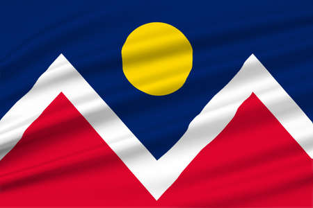 Flag of Denver is the capital of Colorado state, United States. 3D illustration