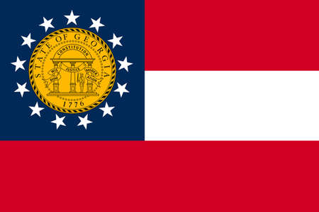 Flag of Georgia is a state of United States. 3D illustration Standard-Bild