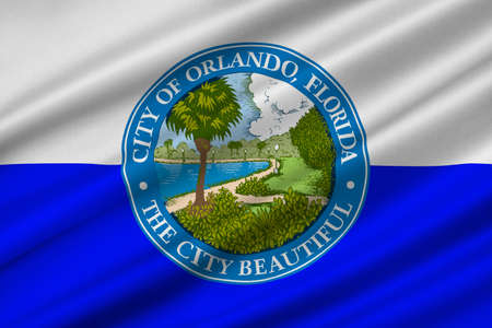 Flag of Orlando is a city in Florida, United States. 3D illustration