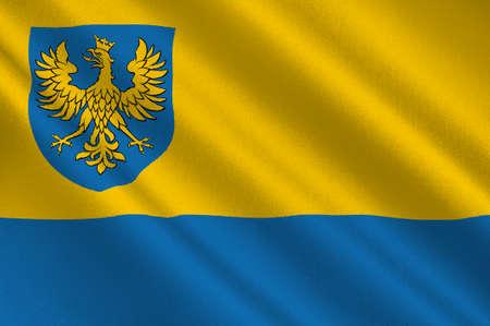 bandera de polonia: Flag of Opole Voivodeship or Opole Province in Poland. 3d illustration Foto de archivo