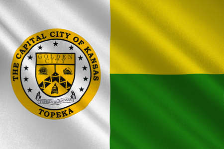 kansas: Flag of Topeka is the capital city of the State of Kansas, United States. 3D illustration Stock Photo