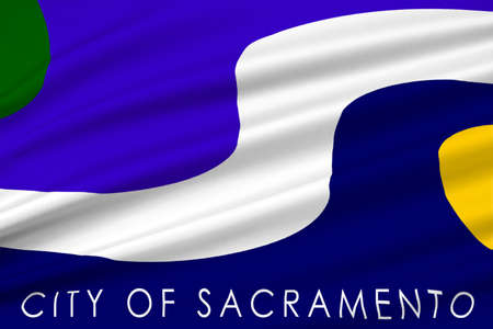 dorado: Flag of Sacramento city in California state, United States. 3D illustration