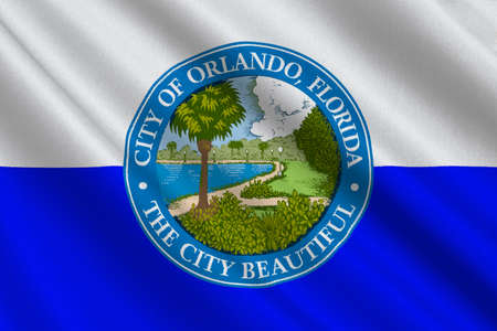 fl: Flag of Orlando is a city in Florida, United States. 3D illustration