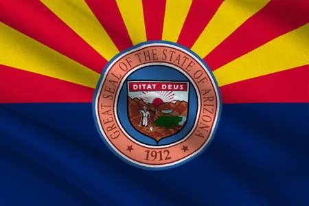 americana: Flag of Arizona state, United States. 3D illustration