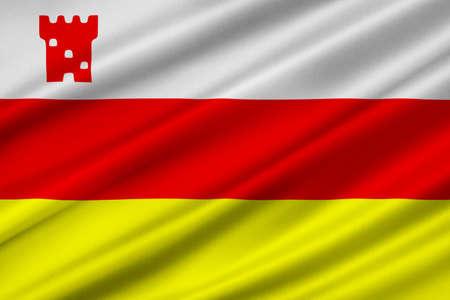 orange county: Flag of Santa Barbara is the county seat of Santa Barbara County in state of California, United States. 3D illustration