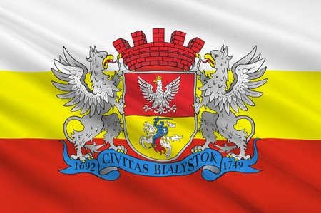 Flag of Bialystok in Podlaskie Voivodeship in northeastern Poland. 3d illustration