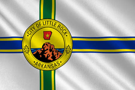 Flag of Little Rock in Arkansas state of United States. 3D illustration Stock Photo
