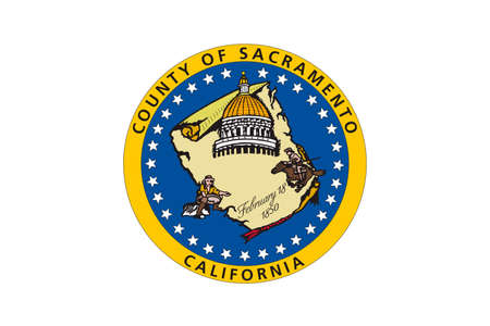 allegiance: Flag of Sacramento County in California state, United States. 3D illustration