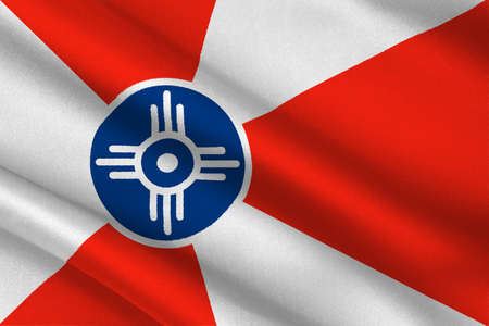 Flag of Wichita is the city in State of Kansas, United States. 3D illustration Stock Photo