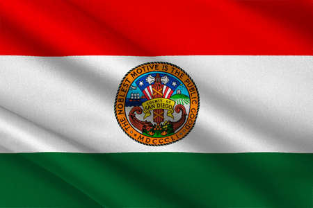 Flag of San Diego is a County in California, United States. 3D illustration