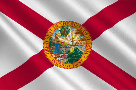 fl: Flag of Florida is a state of United States. 3D illustration