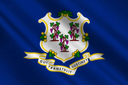 Flag of Connecticut state in United States. 3D illustration