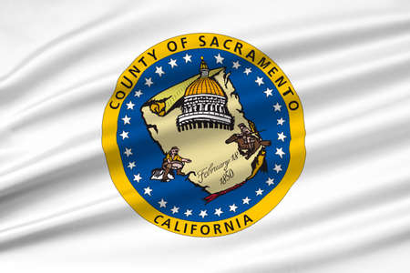 americana: Flag of Sacramento County in California state, United States. 3D illustration