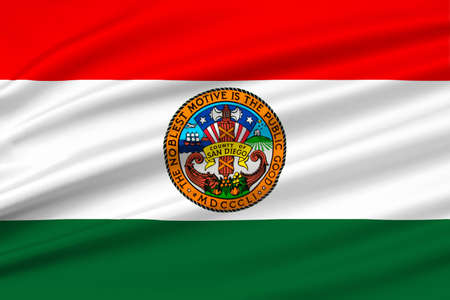 sierra nevada: Flag of San Diego is a County in California, United States. 3D illustration