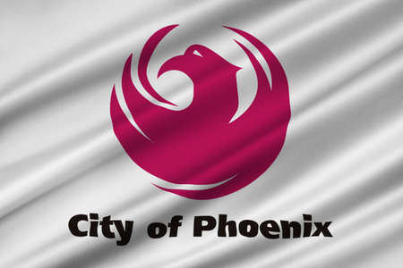 Flag of Phoenix in Arizona state, United States. 3D illustration