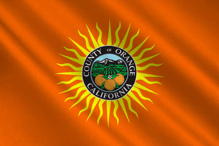 Flag of Orange County in California state, United States. 3D illustration