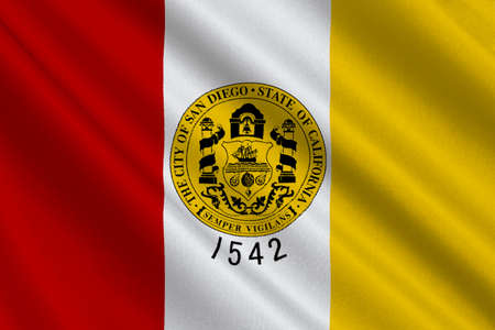 orange county: Flag of San Diego is a major city in California, United States. 3D illustration