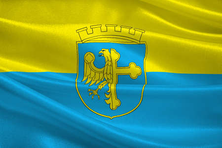 Flag of Opole city in Opole Voivodeship or Opole Province in Poland. 3d illustration Stock Photo