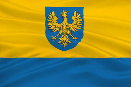 Flag of Opole Voivodeship or Opole Province in Poland. 3d illustration Stock Photo